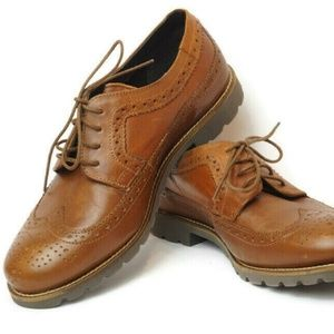 NEW Rockport Mens Wing Tip Shoes Dark Tan 7.5W